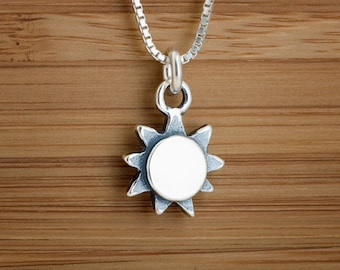 STERLING SILVER Sun Charm Necklace or Earrings - Chain Optional