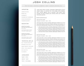 """4-Page Resume and Cover Letter Template for MS Word - The """"COLLINS"""""""