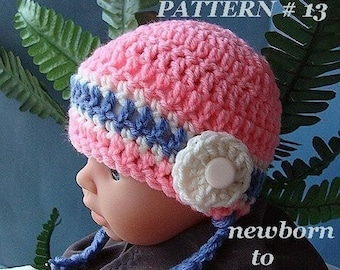 Pattern number  13, Crochet For Beginners.... Pink Baby Hat, Size Newborn To Age 5...instant download