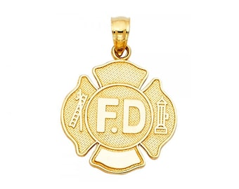 14K Solid Yellow Gold Fire Department Pendant - FD Firefighter Necklace Charm