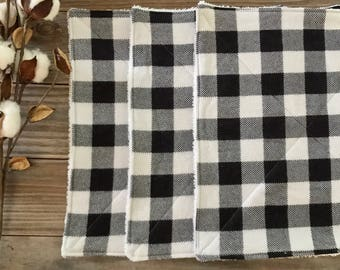 Cloth UnPaper Towels Buffalo Plaid Black and White Flannel and Terry Cloth Set of 10