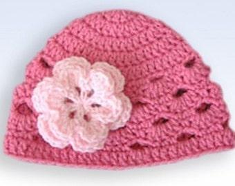 Baby Girl Beanie, Baby Girl Hat, Crochet Baby Hat, Newborn Beanie, Baby Newborn Hat, Newborn Prop, Ready to Ship, Fuchsia Hat, Newborn Hat