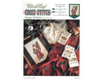 Christmas Cross Stitch Booklet, Santa, Christmas Towels, Christmas Tree Skirt, Christmas Afghan, Charles Craft, by NewYorkTreasures on Etsy