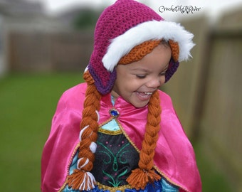 Princess Anna Hat, Crochet finished product, made to order.