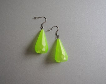 Green Crystal Earrings, 3D printed Earring made of recycled PET bottles filament