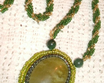 Dark Green Serpentine and Green and Gold Spiral Hand Beaded Rope Necklace