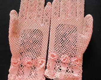 Vintage Pink Tatted Gloves size 7.5