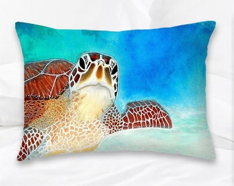 Sea Turtle Pillow | Nautical Pillow | Beach Decor | Decorative Pillow | Turtle Pillow Cover | Turtle Decor | Ocean Pillow | Home Decor