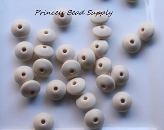 Beige Saucer Silicone Teething Beads, Set of 10 Silicone Beads, 100% Food Grade Silicone Beads, BPA Free Beads Sensory Beads