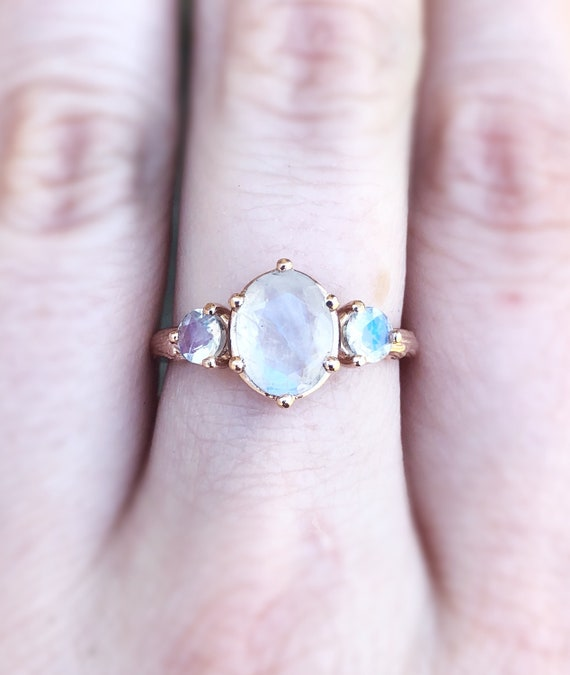 Oval moonstone twig engagement ring, 14k gold moonstone engagement ring, alternative bridal, moonstone gold ring, oval three stone gold ring