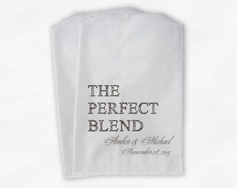 The Perfect Blend Coffee Favor Bags - Brown Personalized Wedding Favor Bags with Names and Date - Custom Paper Bags (0219)