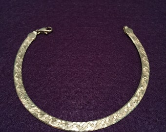 "Herringbone Sterling Bracelet - 8"" - Circa 1970's - Item # HB1"