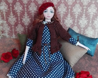 Art doll OOAK, boudoir doll, handmade doll, mixed media doll, cloth clay doll, unique doll, home decor, birthday gift, polka dots