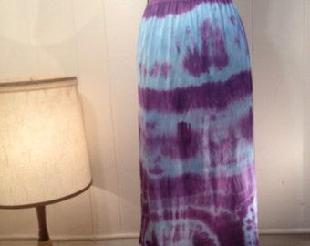 Purple and Turquoise Full Length Slip Skirt