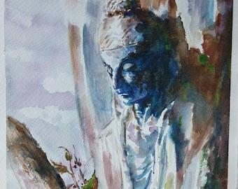 Buddha Painting, Zen Art, Buddha Watercolor, Tibetain Art, Acquerello Buddha, Arte buddista, tibetano , Zen, Meditazione