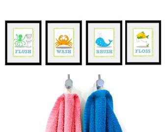 Bathroom Sea theme Kids Art - Set of Four Bathroom Decor Prints -Sea Theme kids decor, children wall art, bathroom art, kids bathroom
