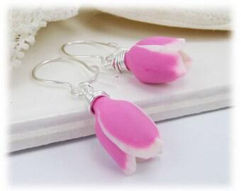 Pink Tulip Earrings - Tulip Jewelry, Pink Flower Earrings, Spring Flower Earrings Jewelry, Mother Gift Idea