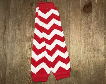 Baby leg Warmer // White and Red Chevron Leg Warmer // Baby Accessories // Arm Warmer // Christmas or Valentine Leg Warmer