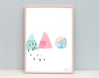 A3 Abstract Painting Shapes Mint and Pink Art Print - Watermelon - Digitally Designed