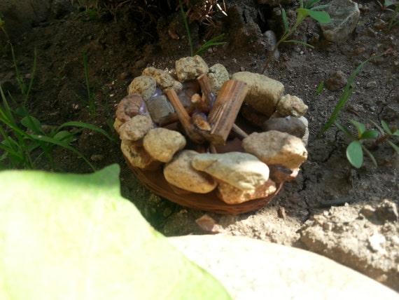 Jardín de hadas fuego hoyo miniatura pozo de fuego jardín de