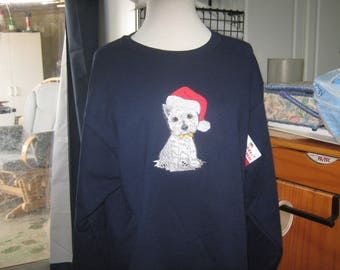 Christmas Westie Embroidered Sweatshirt New and Ready to go