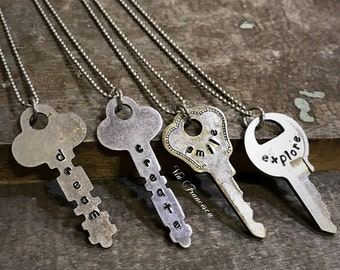 Custom Hand Stamped Key Necklace on Stainless Steel Adjustable Chain – Personalized – Made in the USA