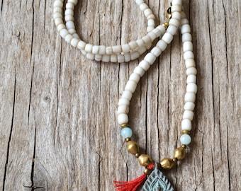 Buddha-Yoga-Halskette, böhmischen Halskette, ethnischer Schmuck, Quaste Schmuck, yogaschmuck, Geschenk für sie, Valentinstag
