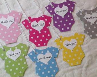 Polka Dot Baby Tags - Baby Heart Tag -  Shower Thank You Tags - Baby Bodysuit Tag - Baby Shower Favor Labels - Set of 12