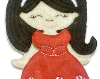 Non paper doll with 1 party dress , felt paper doll, Quiet Game, felt gamel, travel toy, Birthday Favor, Felt Favor, Children's Toy #1501