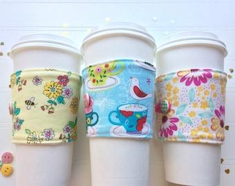 Coffee Cup Cozy, Mug Cozy, Coffee Cup Sleeve, Cup Cozy, Cup Sleeve, Reusable Coffee Sleeve - Teacups & Birdies  [86-88]