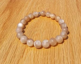 Peach Moonstone, beaded bracelet 8mm