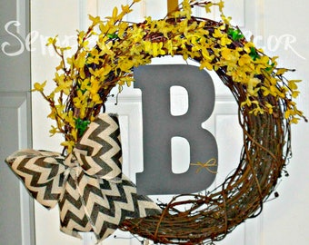 Forsythia Wreath, Yellow Wreath, Monogram Wreath, Yellow Flower Wreath, Monogrammed Wreaths, Grey Yellow Wreath, Yellow Forsythia, Monogram