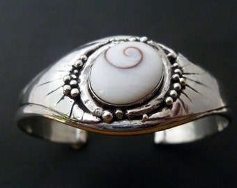 Handmade Silver Cuff - Sterling Silver Shiva Eye Cuff Bracelet - Made to Order Shell Bangle - Custom Made Silver Cuff