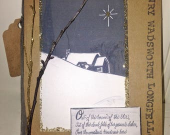 Handmade Greeting Card: Snowflakes, Henry Wadsworth Longfellow, cold winter night, snow, holiday, secular, Christmas, poetry,one of a kind