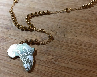 Gold Africa Y necklace