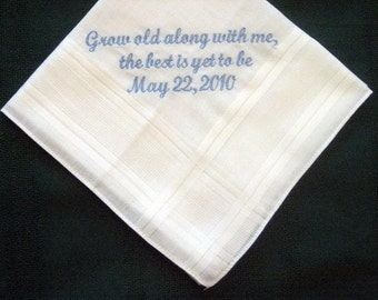 Personalized Wedding Gift, Wedding Handkerchief from Bride to Groom, Anniversary gift for men,   37S