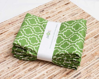 Large Cloth Napkins - Set of 4 - (N867) - Green Tile Geometric Modern Reusable Fabric Napkins