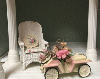 Dollhouse metal car flower cart - Free Shipping to the US