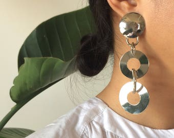 Vintage Silver-toned Hoop Chain Earrings with Post Back / Clip On Combo