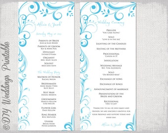 """Wedding program template Malibu Blue instant download """"Scroll"""" printable order of ceremony  DIY order of service -Turquoise YOU EDIT"""