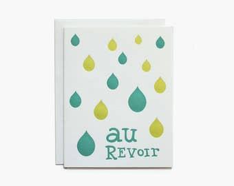 Goodbye Card - Letterpress - Au Revoir
