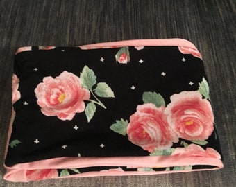 Handmade floral jersey knit pink black spring summer infinity scarf