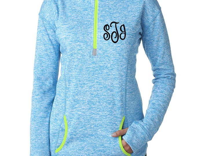 Monogram Shirts . Womens Long sleeves monogram bright colored tops .Ladies Half Zip Up Monogrammed pullover.  3x,2x,xl, large, medium, smal