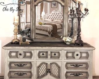 SOLD!!! Rustic Gray Large Dresser With Mirror