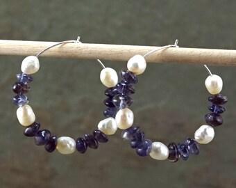 White Freshwater Pearl and Iolite Gemstone Hoops