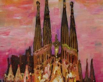 Barcelona With Sagrada Familia And Vanilla Sky - Limited Edition Fine Art Print