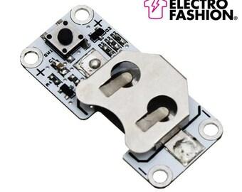 Electro-Fashion, Latching Switch Coin Cell Holder Sewable Electronics e textiles e-textiles