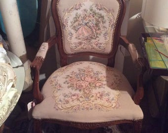 French Arm Chair With Tapestry Upholstery