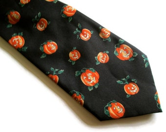 Vintage Necktie Halloween Orange Pumpkins Jack O Lanterns