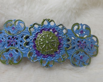 Filigree Barrette Large Metal Upcycled Fancy Hair Barrett Patina Painted Greens and Blues Filigree Style Metal Hair Accessory Hand Painted